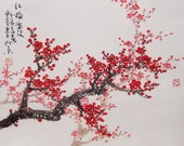 Original painting oriental art chinese art -Lovely cherry blossom tree No.4