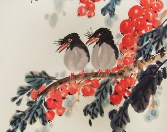 Original painting oriental art chinese art chinese painting -Lovely birds with flower