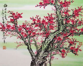 Original painting chinese art -Lovely cherry blossom tree No.10