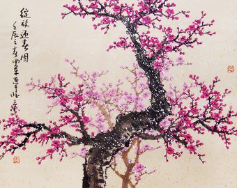 Cherry Blossom painting chinese watercolour painting original chinese art-cherry blossom tree No.47