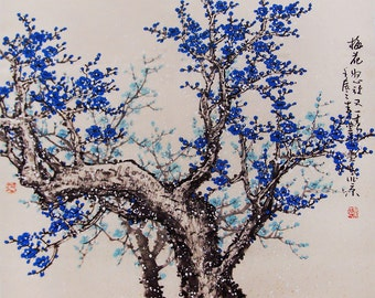 Original painting chinese art oriental art-Lovely cherry blossom tree No.46