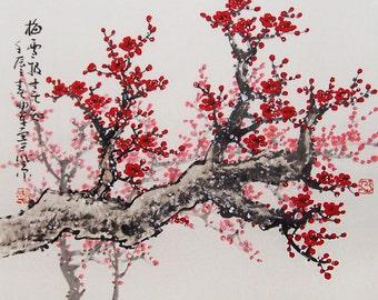 Original painting chinese art -Lovely cherry blossom tree No.21