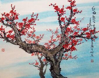 Original painting chinese art -Lovely cherry blossom tree No.34