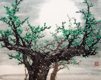 Original painting chinese art -Lovely cherry blossom tree No.23