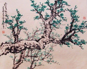 Original painting chinese art oriental art-Lovely cherry blossom tree No.49