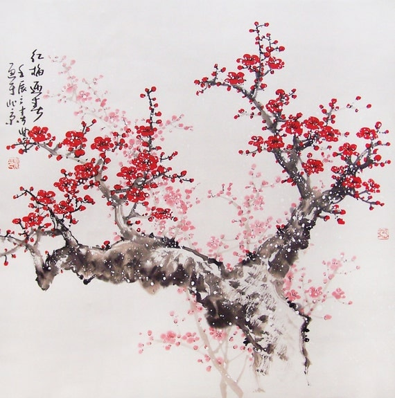 Original painting chinese art -Lovely cherry blossom tree No.41