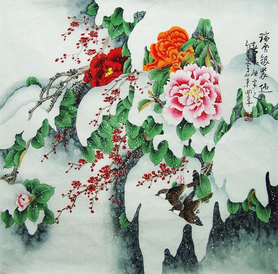 original painting chinese art  -birds with peony and cherry blossom-large painting