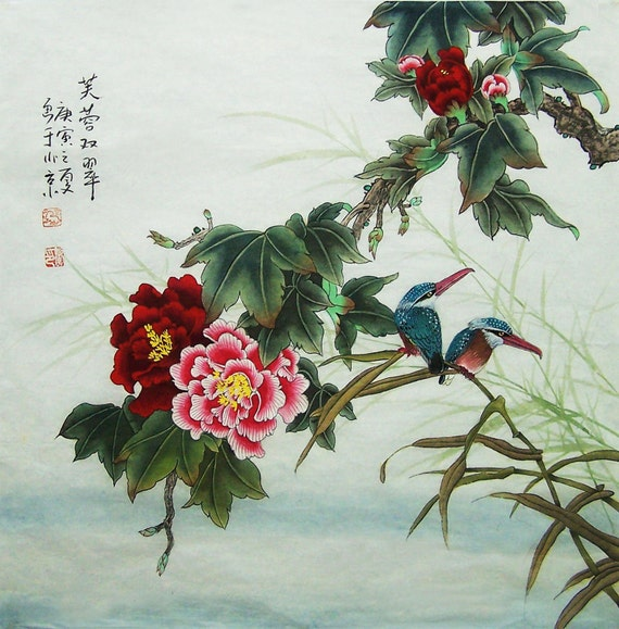 original painting oriental art chinese art lovely flower