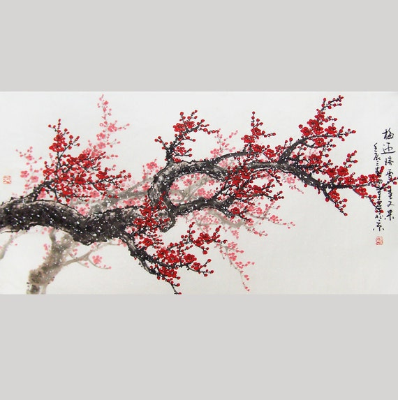 Original cherry blossom  painting  chinese Art -Lovely cherry blossom tree No.16