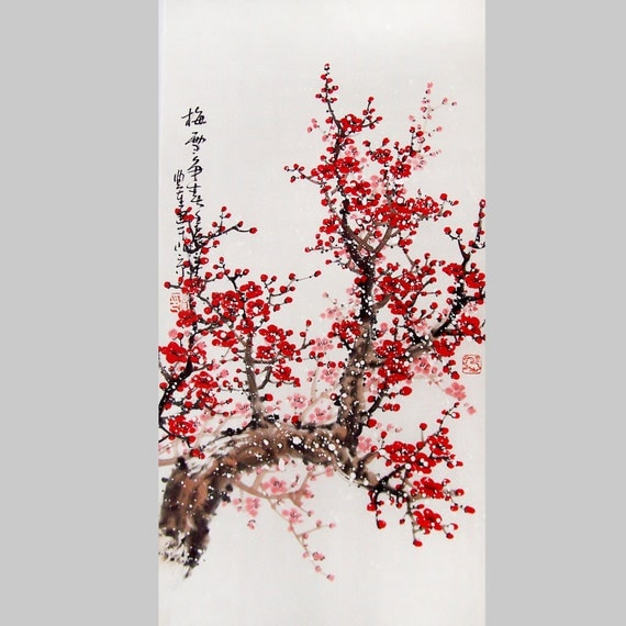 Cherry Blossom  painting chinese watercolour painting original chinese art-cherry blossom tree No.36