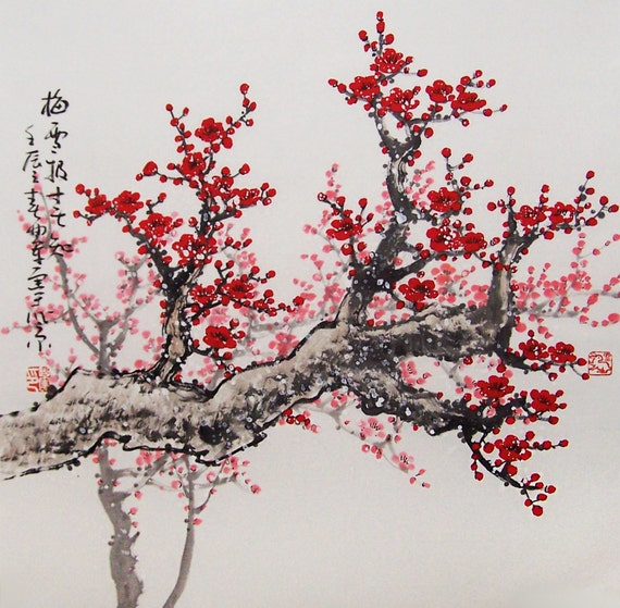 Original painting chinese art Lovely cherry blossom tree