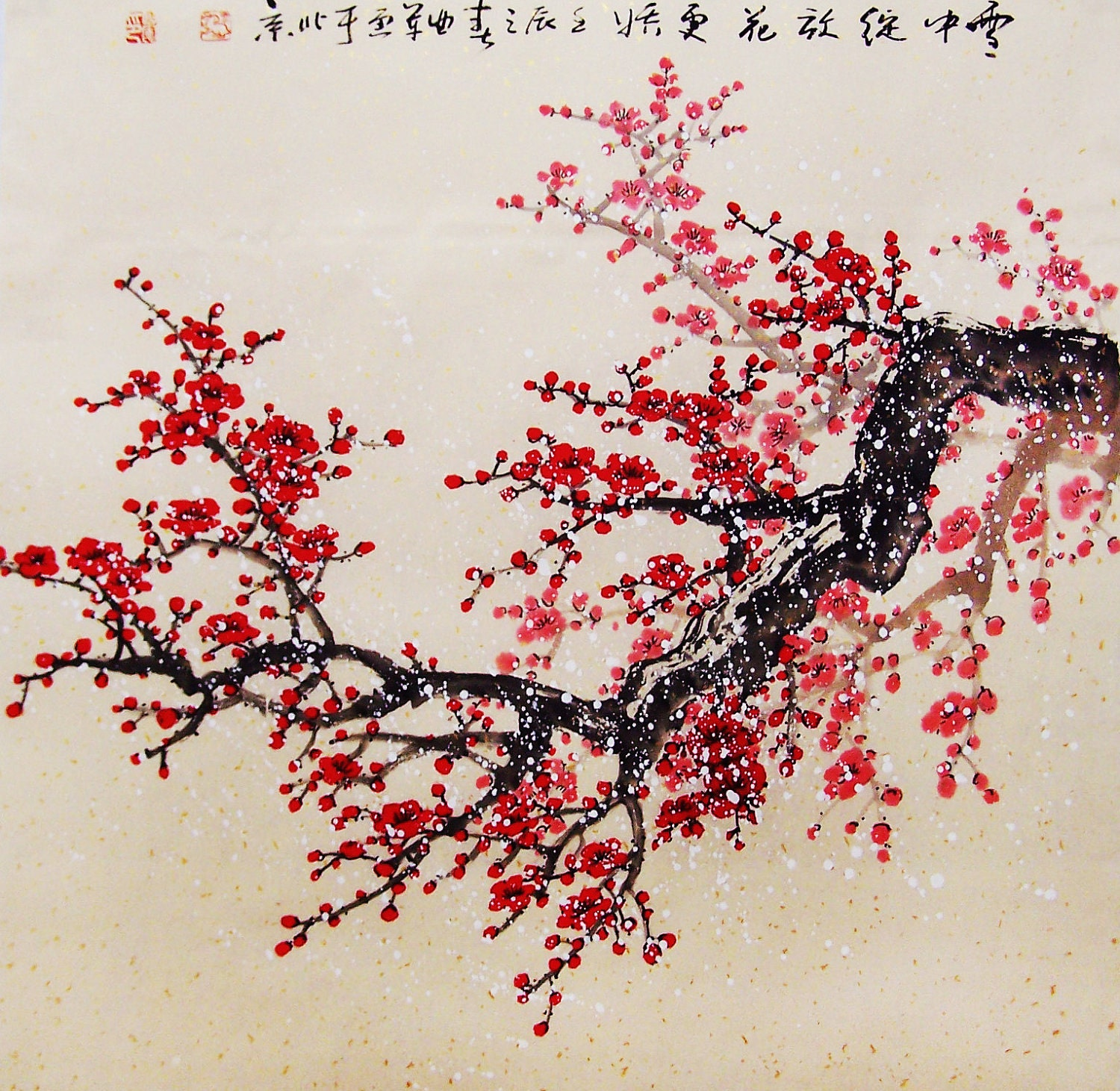 Original painting chinese art oriental art-Lovely cherry ...