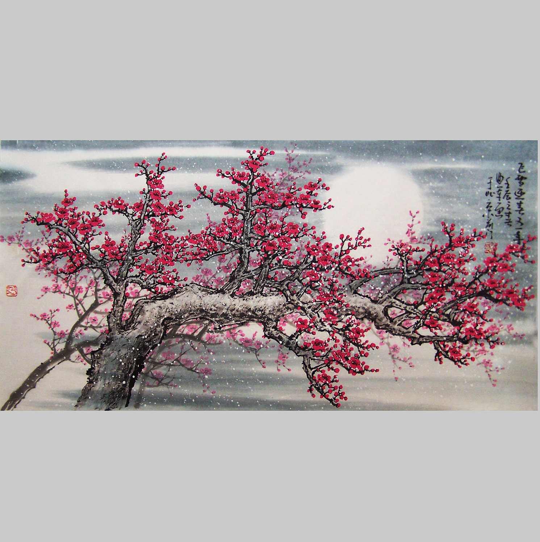 Original Art work chinese painting Lovely cherry blossom tree
