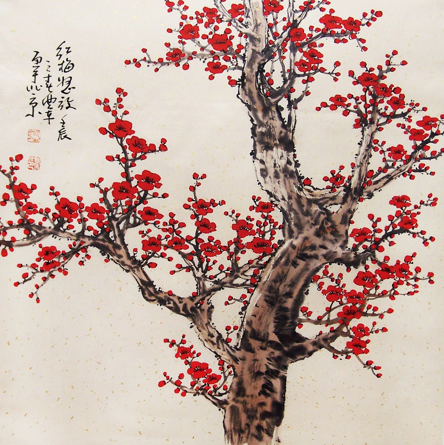 Original painting chinese art oriental art-Lovely cherry