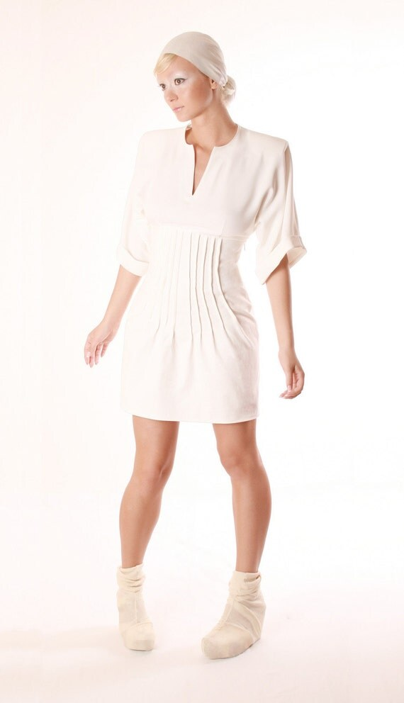 Strech Cotton Blend White Pencil Dress