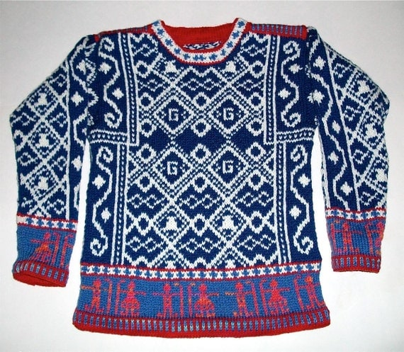 Hockey Knitting Patterns : Items similar to Seven/Eight Year Hockey Sweater on Etsy