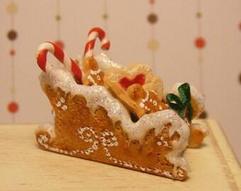 12th Scale Doll House Festive Christmas Gingerbread Sleigh
