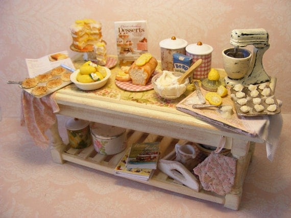 SALE 12th Scale Doll House Busy Bake Day Table