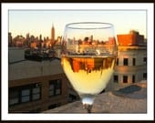 New York City in A Wine Glass, Print 8x10 Free Shipping