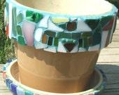 Mosaic Hand Tiled Flower Pot & Saucer Glazed Norcal Southwestern Theme
