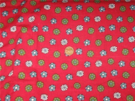 Vintage Yardage M Lowenstein Retro Red Floral 6.25 Yards Cotton Quilt or Dress Fabric