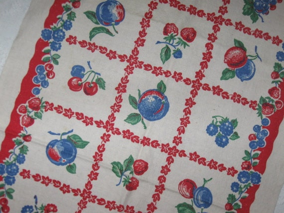 Vintage Printed Linen Kitchen Dish Towel in Red and Blue with Fruit Strawberries and Cherries