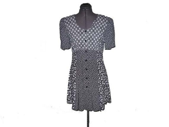 Vintage 90s Grunge Revival Black and White Floral Patchwork Mini Babydoll Dress S/M