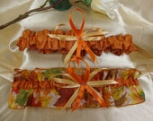 Wedding Garter Set with Bright Autumn Colors