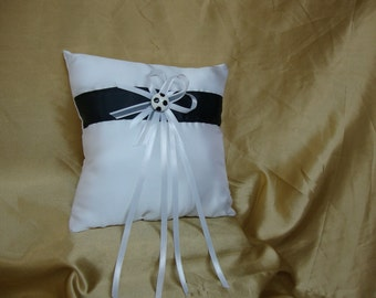 Black and White Ring Bearer Pillow with Soccer Deco