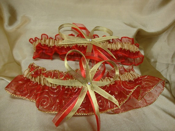 Red and Gold Wedding Garter Set