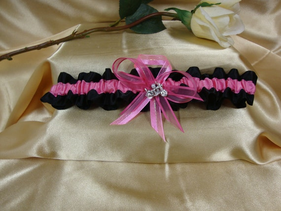 Hot Pink and Black Satin Wedding Garter with Motorcycle Deco