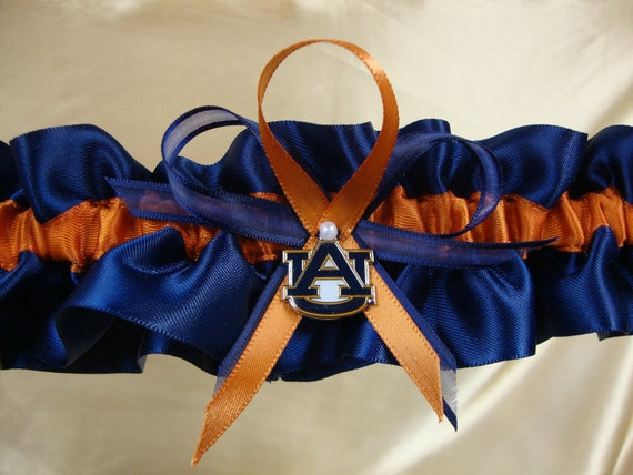 Single Satin Wedding Keepsake Garter with  Auburn University Colors