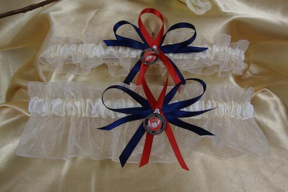 Ivory Wedding Garter set with U.S. Marine Corps Theme
