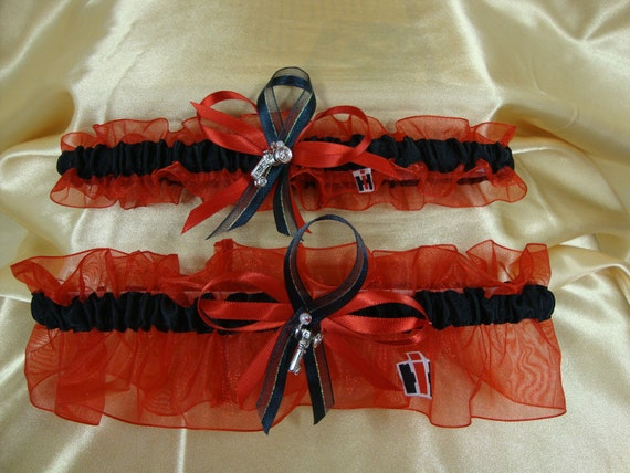 Case IH Colors Red and Black Wedding Garter Set with Tractor Charms