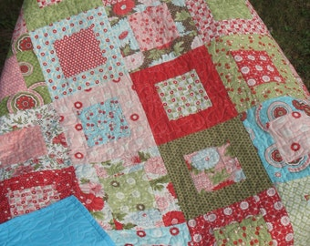 MaDe To OrDeR Vintage Modern Lap or Baby Quilt in Beautiful Bliss Fabrics-- pink, aqua, red, green