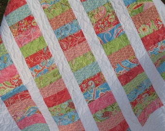Sorbet Coins Baby Girl Crib quilt -- pink, blue, green