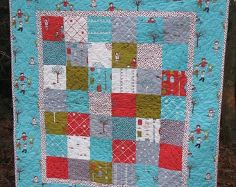 Little Apples Baby Crib Quilt -- red, aqua, grey, white, green
