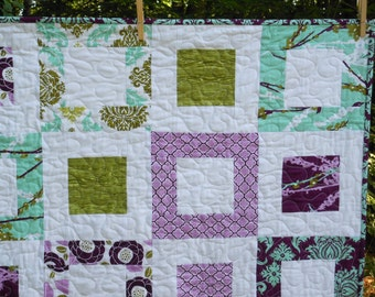 MaDe To OrDeR -- Aviary 2 Lap or Baby Quilt-- pattern also available --lilac, purple, green, aqua