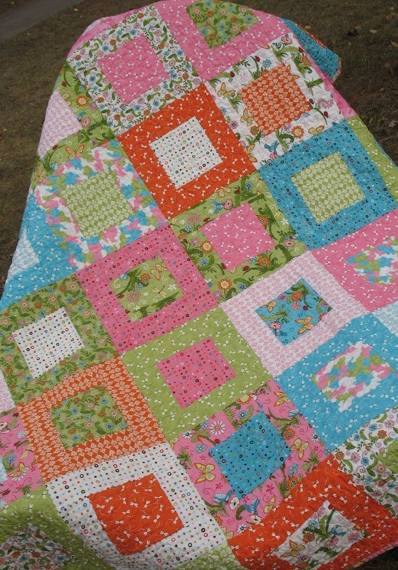 Meadow Friends Lap or Baby Quilt for Girls -- pink, green, orange, blue