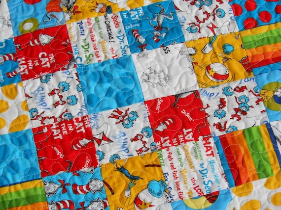 Reversible Colorful Dr Seuss Baby Quilt