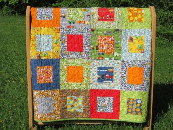 Boy Quilt in Ten Little Things fabrics -- owls, trucks -- blue, green, red, orange