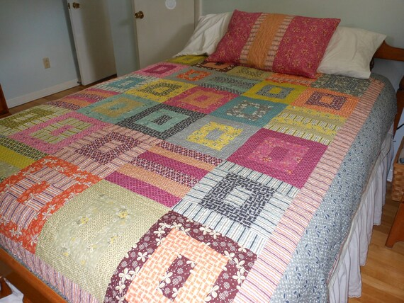 Twin Size Quilt and Pillow Sham in Hope Valley fabrics by Denyse Schmidt -- orange, pink, grey, blue, yellow, green