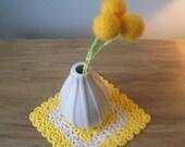 Sunflower yellow handfelted pom pom trio