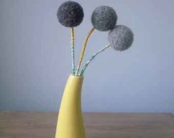 Grey Felt Flowers - Large pom pom flower arrangement -  Gray Yarn Pompoms -  Mustard and grey - Pom pom Flowers  - Winter Bouquet - Ombre