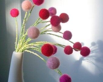 Pink felt flowers - Baby Girl nursery decor - Amaranth - Pink and red bouquet -  Pink wool pompom flowers - Felt balls - Pom pom bouquet