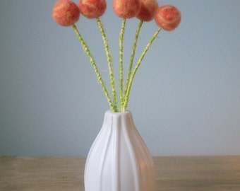 Peach pom pom flowers - Apricot wool pom poms - Salmon Coral Blooms - Peaches and cream - Felt Flower Bouquet - Mottled wool - Peach Floral