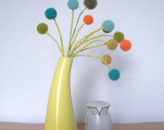Wool felt pom pom flowers beach inspired droopy blooms.  Nautical.  Craspedia, billy balls.