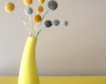 Mustard and grey felt flowers. Wool craspedia. Pom poms. Gray felt balls. Modern floral spray. Boho chic.