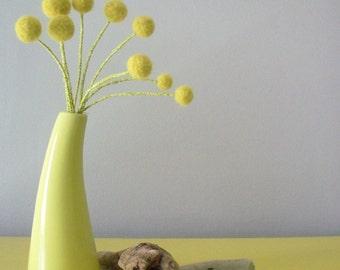 Yellow felt pom pom flowers.  Lemongrass bouquet.  Green yellow floral bunch.  Dandelion craspedia bunch.  Wool balls.  Retro atomic floral
