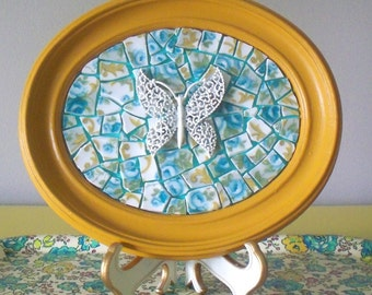 Butterfly Picture.  Mosaic art.  Mustard and turquoise home decor.  Retro, kitsch wall art.  3d, mixed media art. Enamel brooch. Oval frame.